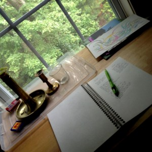 picture of desk, notebook and pen