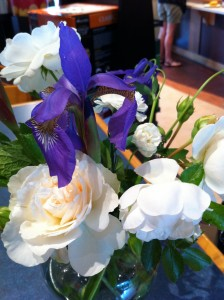 white and purple spring flowers