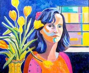 A very colorful self portrait of Nancy Wait.